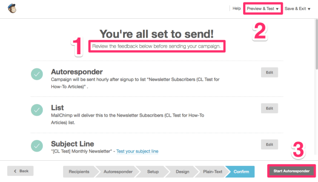 MailChimp Autoresponder Set Up Final Steps