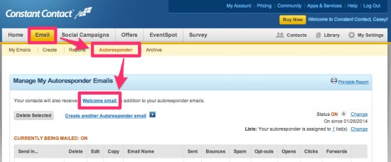 Edit the Constant Contact welcome email