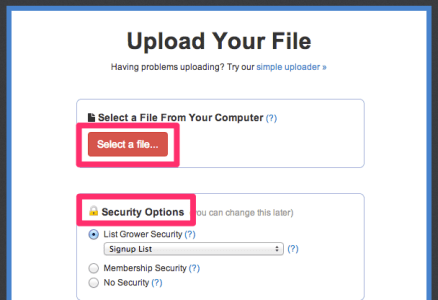 Upload file and set security level