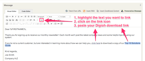 Compose the ActiveCampaign welcome email & paste the Digioh download link