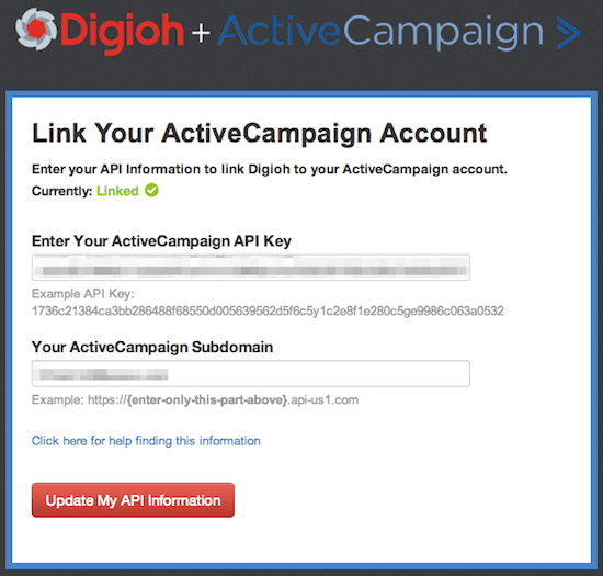 Connect Digioh and ActiveCampaign