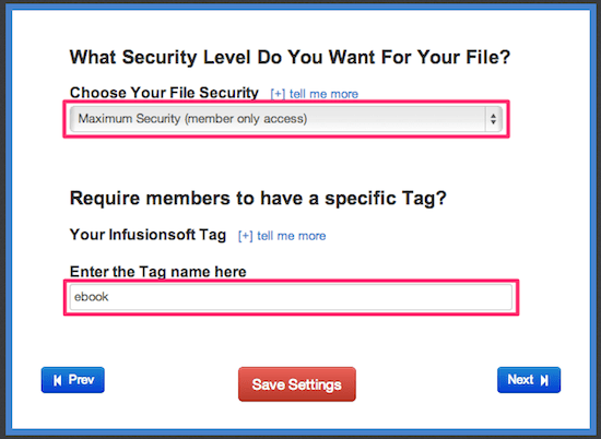 Set security level and tag