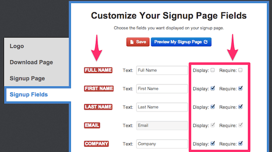 Choose the sign up fields for new subscribers