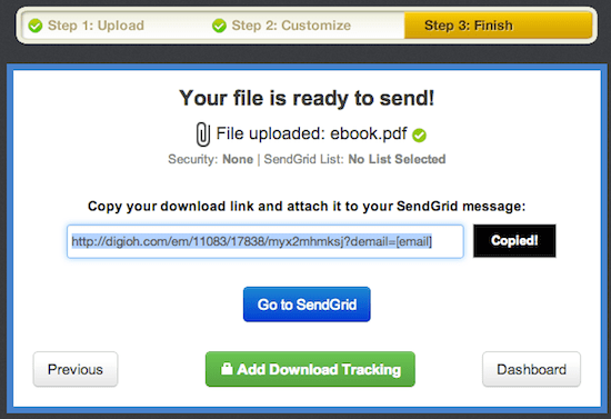 Digioh download link for SendGrid