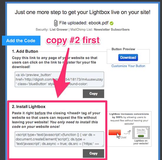 Copy the Lightbox install code