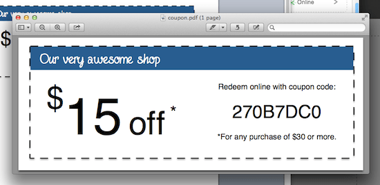 Wix coupon code example