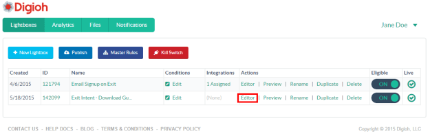 Open lightbox editor to add integration