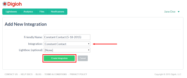 Create a Constant Contact integration