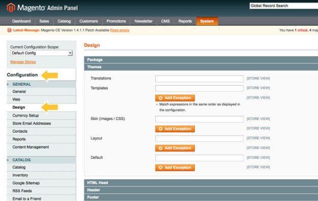 Magento Admin Panel | System Configuration | Design