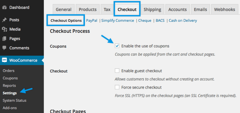 Enable coupons in WooCommerce