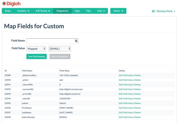 data extension custom fields