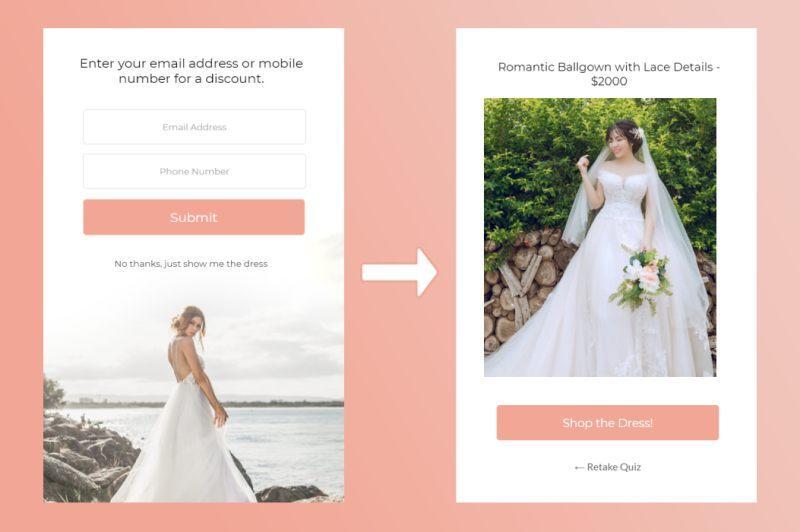 wedding dress recommendation quiz that shows the result after optionally providing an email address or phone number