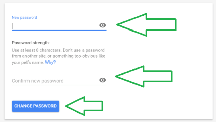 enter new google account password field img