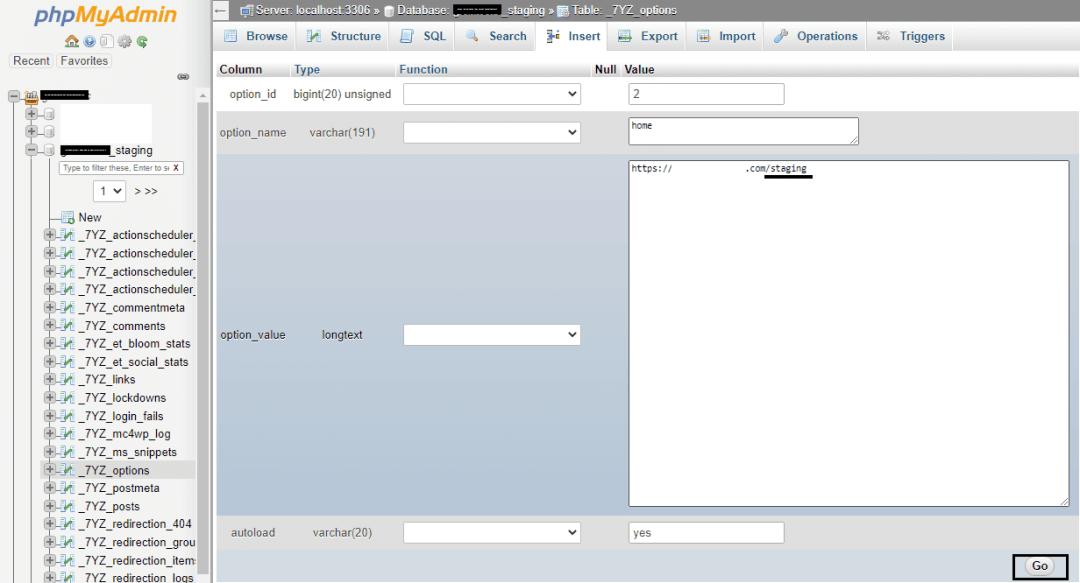 Option inside new database in phpmyadmin_home change