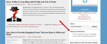 Blogged book table of contents in the sidebar of a blog.