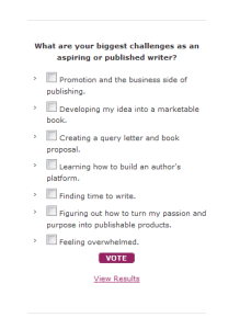 This poll on one of my blogs helps me discern my readers' content interests.