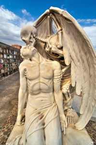 Beautiful sculpture at the cemetery of Poblenou, Barcelona, Spain