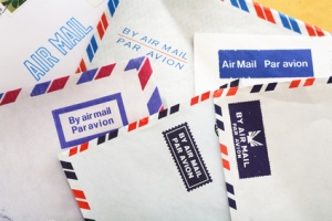 Different Air Mail envelopes.