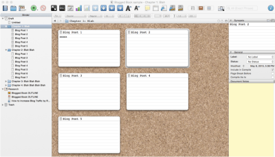 blog a book with Scrivener