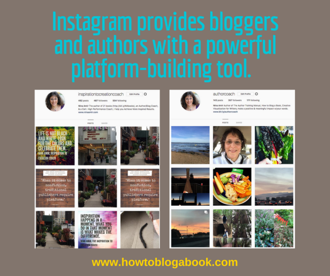 Use Instagram to promote a blog or book