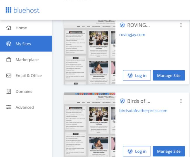 Bluehost Dashboard - My Sites page WordPress BLog