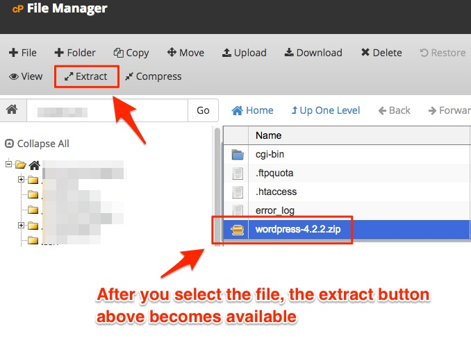 Screenshot showing a zip file selected for extraction in cPanel