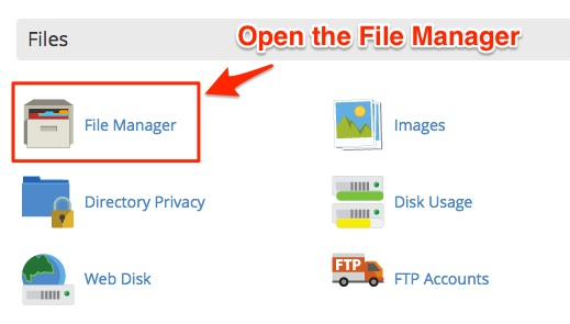 Screenshot showing the File Manager app  in cPanel