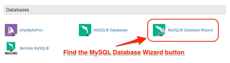 Screenshot indicating the Wizard app for MySQL in cPanel