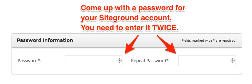 screenshot indicating the password creation form
