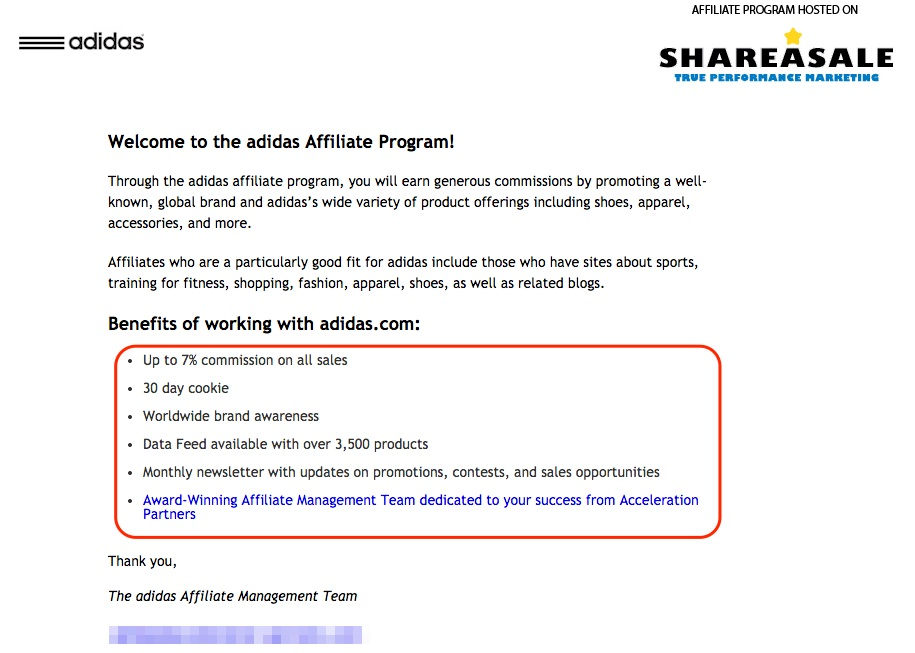 Screenshot showing the Adidas affiliate program in Shareasale