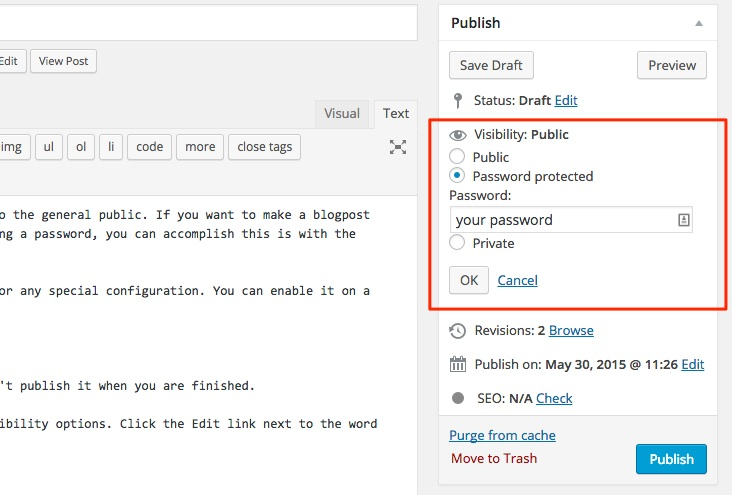 Screenshot indicating where to make a blogpost password protected in WordPress