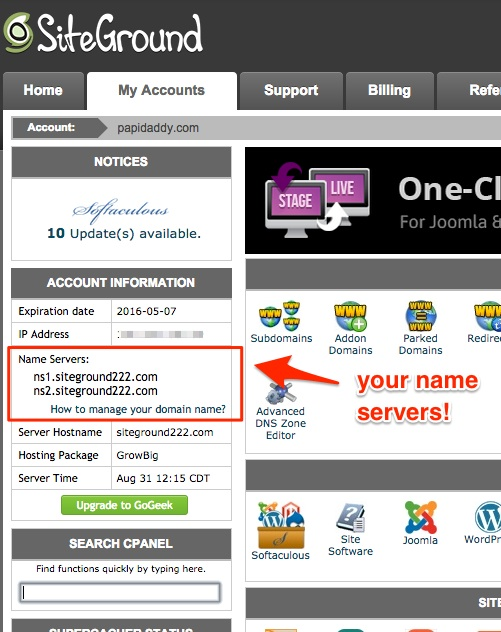 Screenshot indicating where the name servers are in Siteground's cPanel