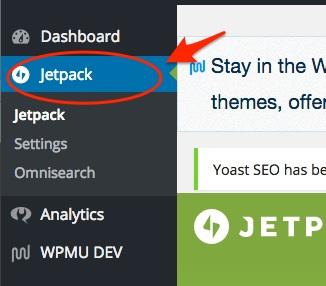 screenshot indicating the jetpack plugin settings location