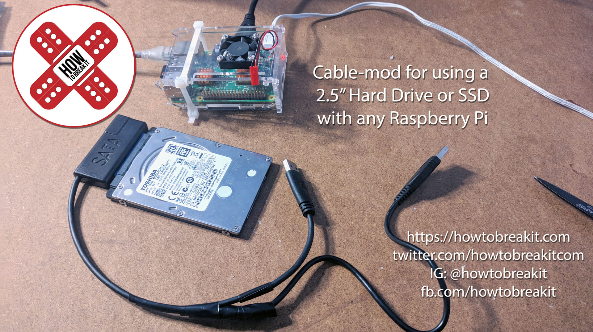 Modifying a USB to Sata adapter cable for use with a Raspberry Pi!