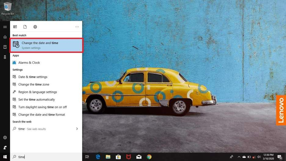 How to change time in windows 10