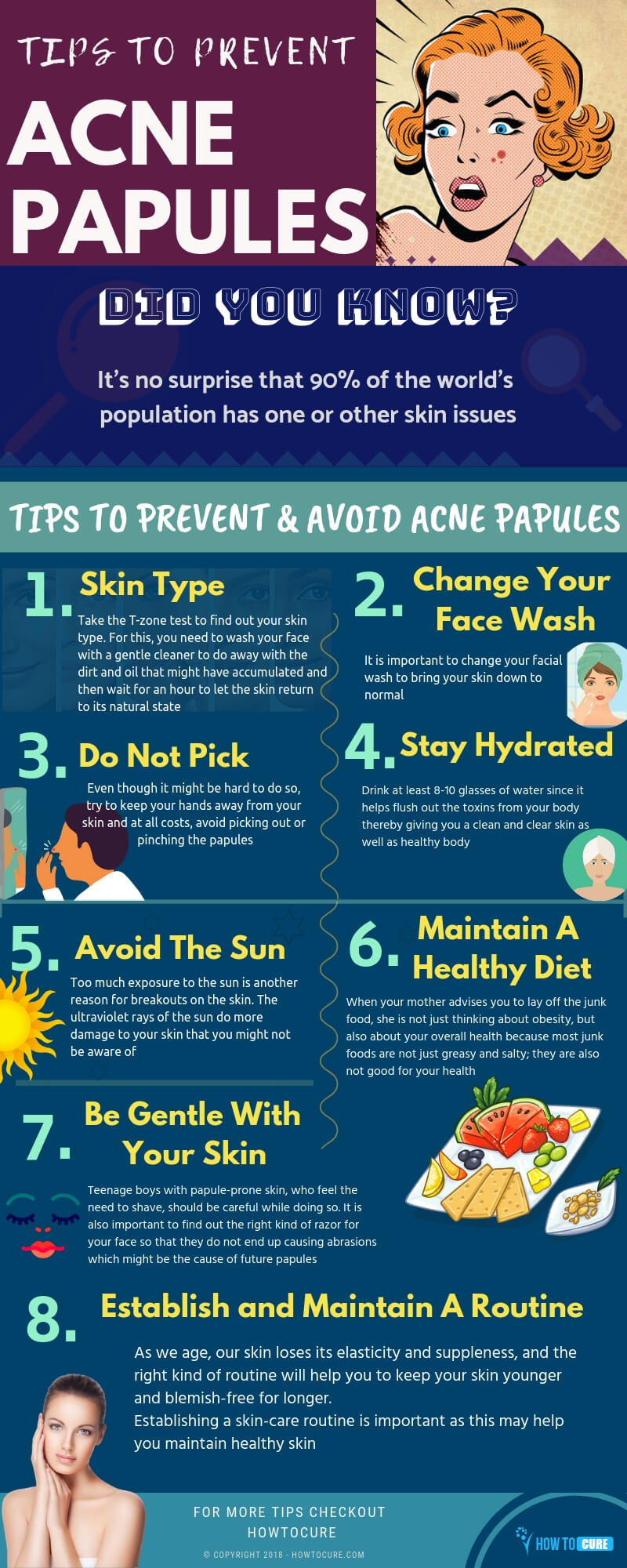 tips to prevent acne papules infographic