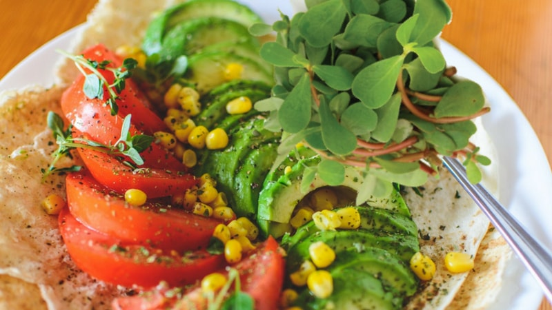 purslane, cucumber, and tomato salad