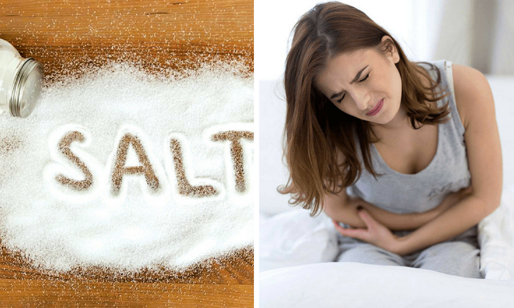 get rid of the bacterial infection in the stomach by using salt