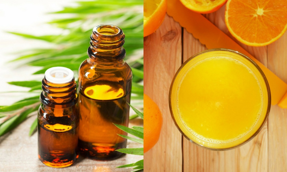 oil of tea tree and orange juice can remove little bumps on face