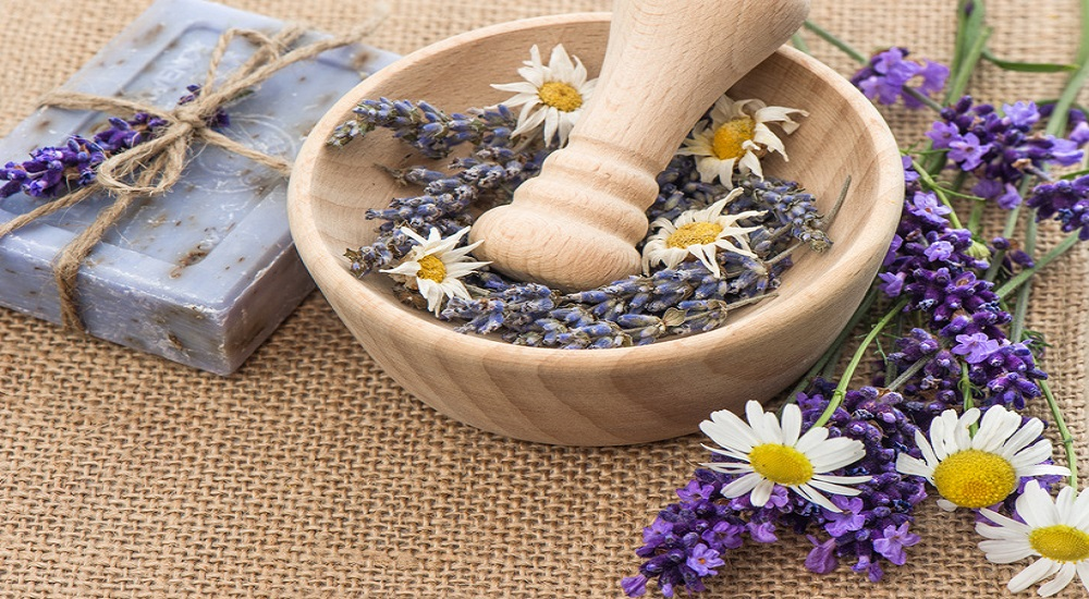 lavender and chamomile herb for bruises