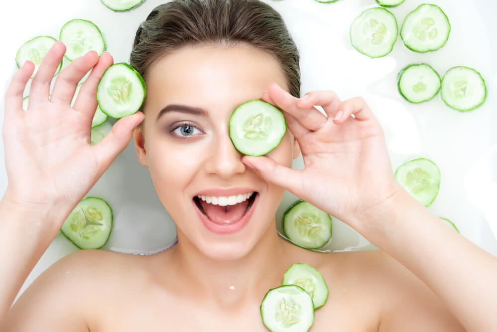 Cucumber on face