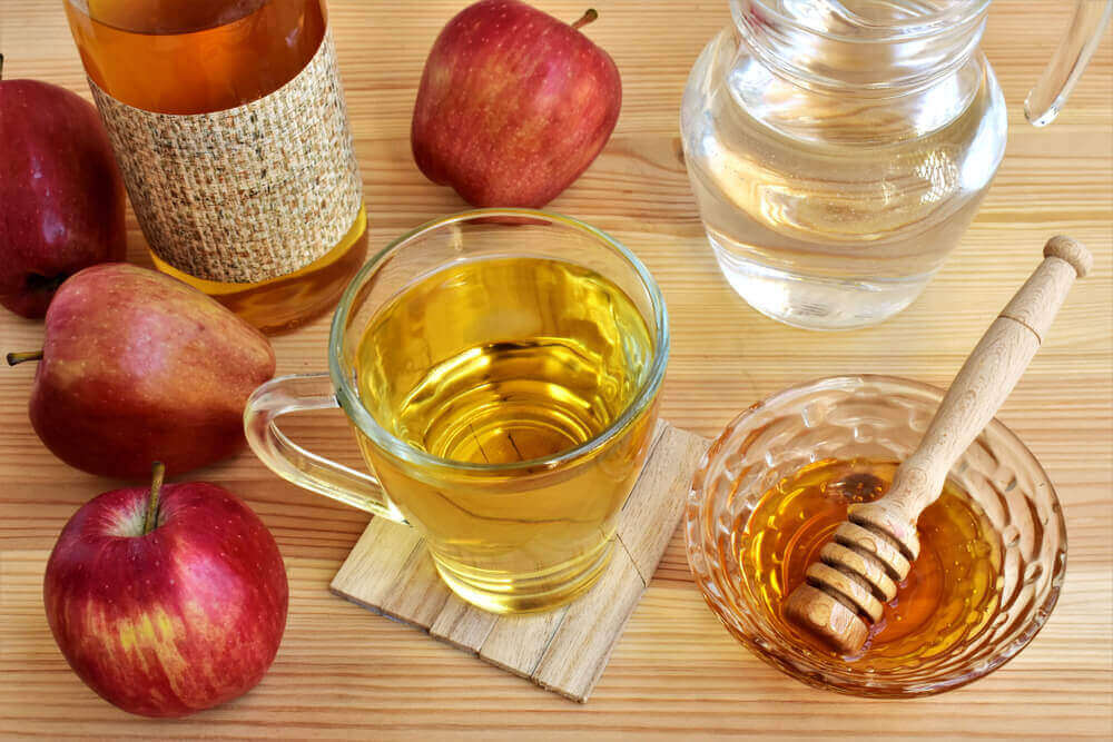 Apple cider vinegar, honey, and water