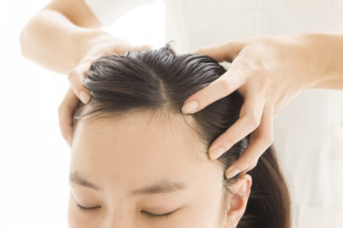 Scalp Massage using rosemary oil
