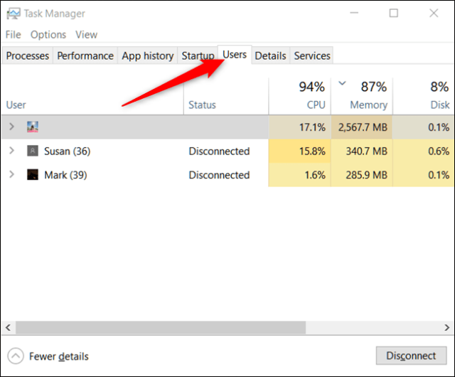 Task Manager Users Tab