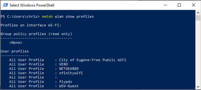 List of wireless profiles registered in PowerShell