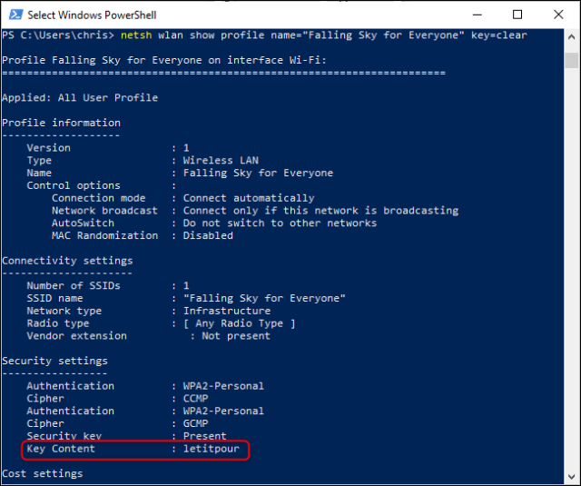 Search for a Wi-Fi password registered from the Windows command line