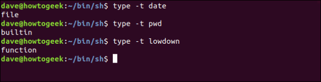 demonstration of the type -t option in a terminal window