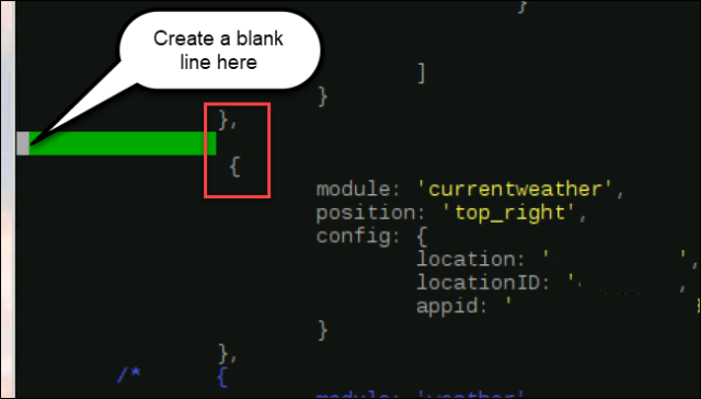 module code, with a new line inserted after}, and before {