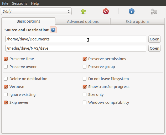 One of the Grsync parameters dialogs,