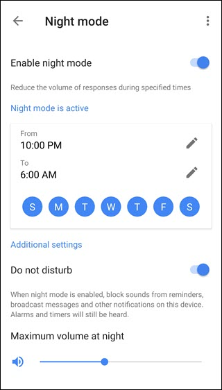 Night mode setting dialog, displaying a daily schedule from 10:00 pm to 6:00 pm